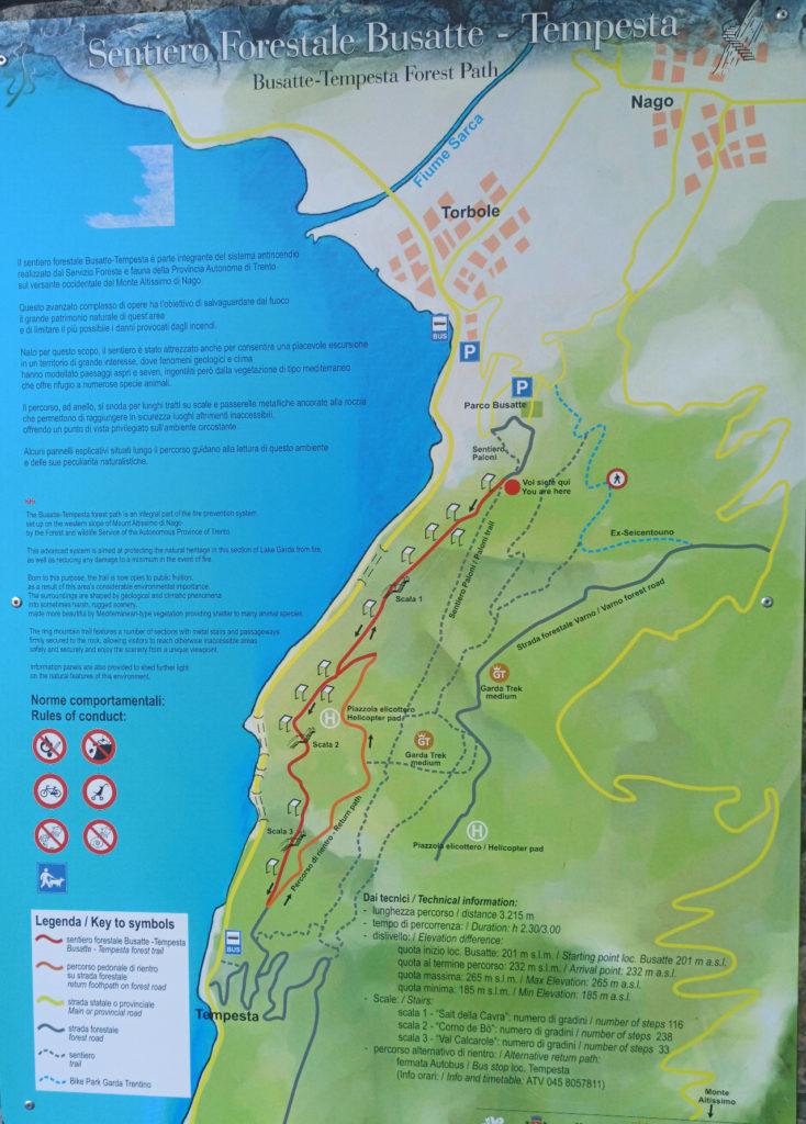 Mapa szlaku Busatte - Tempesta