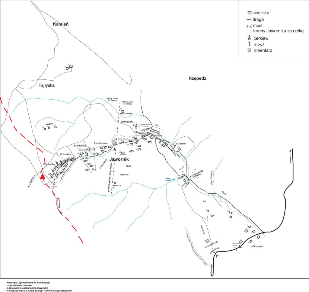 Mapa Jawornika z zaznaczonym szlakiem GSB.